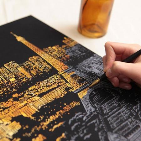 Slika Scratch Night View tabla kojom otkrivate noćni izgled najlepših svetskih metropola