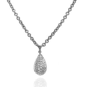 Pave Diamond Teardrop ogrlica sa cirkonima