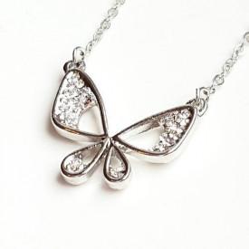 Posrebrena ogrlica leptirić