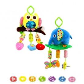Viseće plišane igračke za bebu - slon i sovica