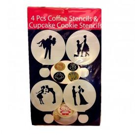 Set od 4 LoVe šablona za dekorisanje kafe i kolača