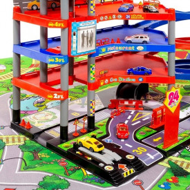 Podloga za igru sa raskrsnicama i garaža sa autićima