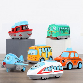 6 mini igračaka na povlačenje - Avion, Voz, Brod, Tramvaj, Autobus i Taxi