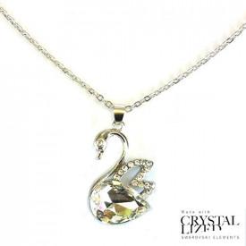 Swarovski labud posrebrena ogrlica