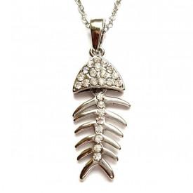 Posrebrena ogrlica riblja kost