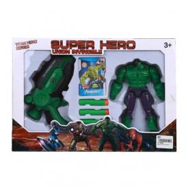 Set pištolj sa blisterima i akciona figura Hulk ili Spiderman