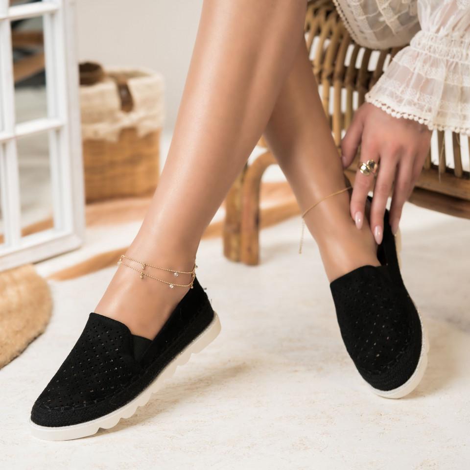 Női spárgatalpú cipők Fordított műbőr Fekete Isabella X2747