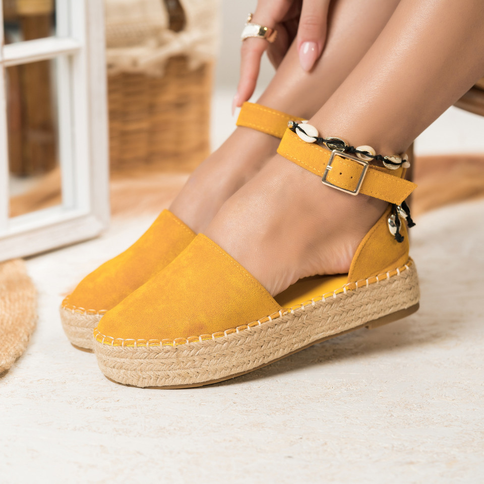 Női spárgatalpú cipők Fordított műbőr Sárga Charlotte X2767