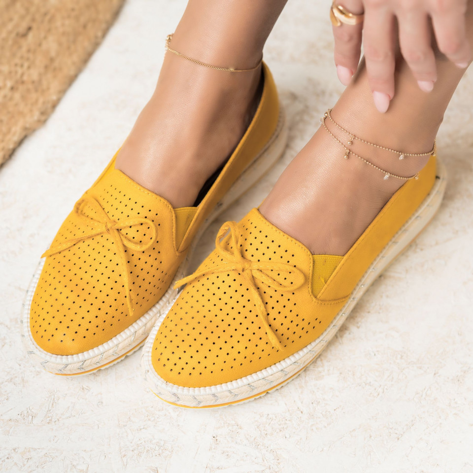 Női spárgatalpú cipők Fordított műbőr Sárga Olivia X2737