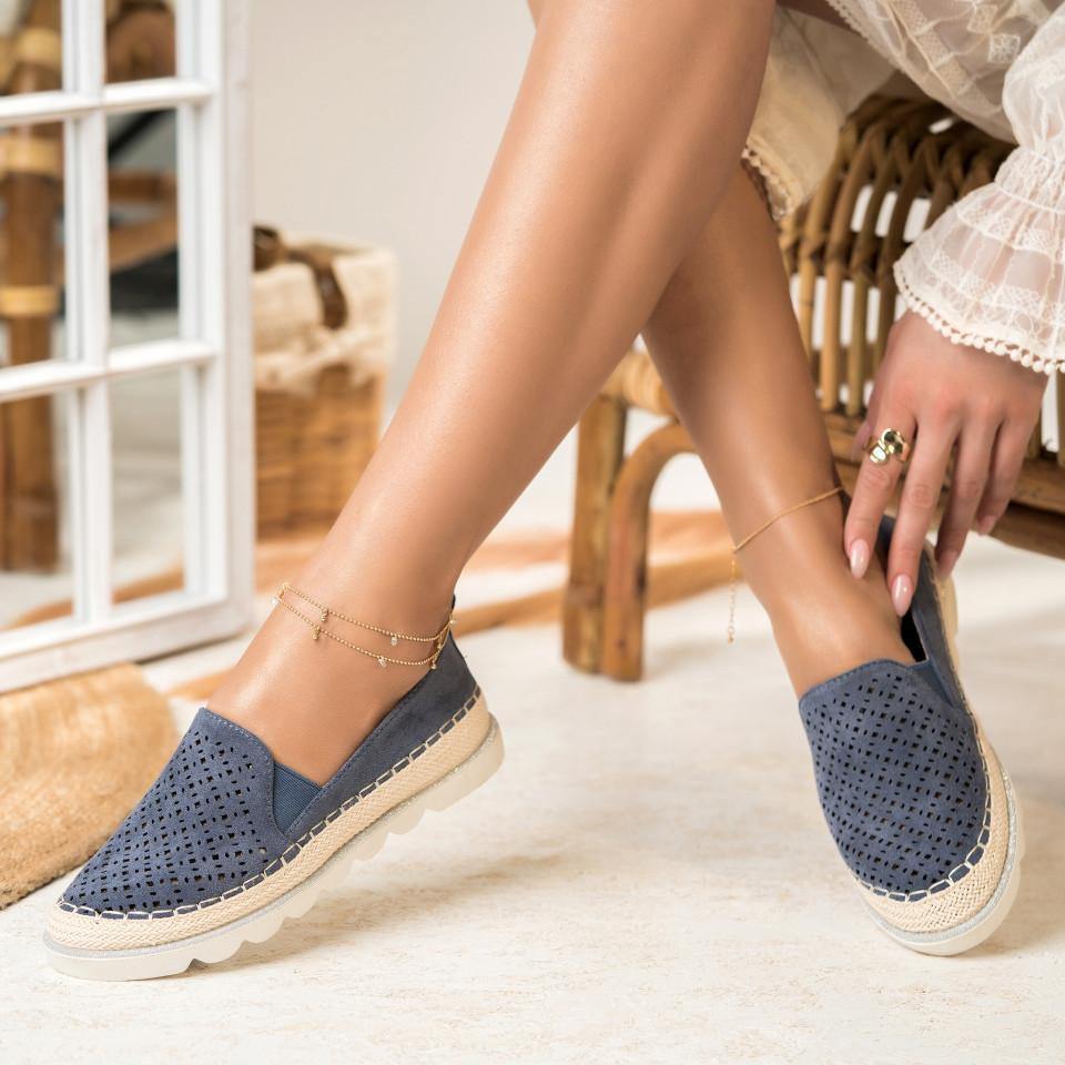 Női spárgatalpú cipők Fordított műbőr Sötétkék Isabella X2745