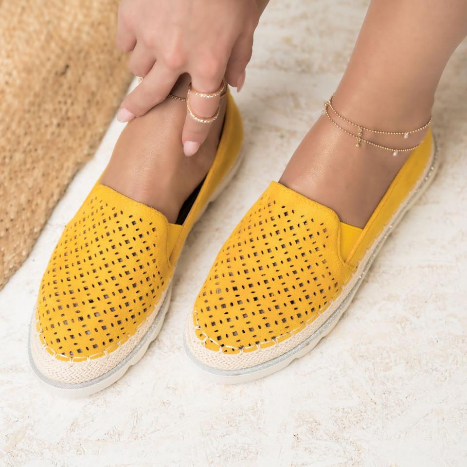 Női spárgatalpú cipők Fordított műbőr Sárga Isabella X2746
