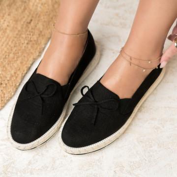 Női spárgatalpú cipők Fordított műbőr Fekete Olivia X2735