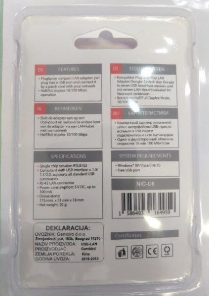 USB ethernet adapter Gembird NIC-U6, Gembird NIC-U2-02