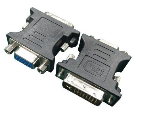 Adapter DVI-I 24 pin muški na VGA 15 pin ženski Gembird A-DVI-VGA, crni ili beli
