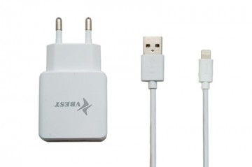 Slika Punjač 2 u 1 VBEST S16 USB 2000 MA/1000 MA + IPhone 5/6 USB Data Cable
