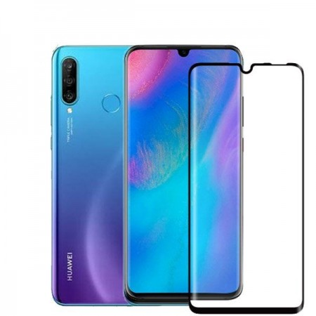 "Zaštitno staklo za Huawei P30 Lite 2019 (6.15""), 5D full glue, zakrivljeno, crni rub"