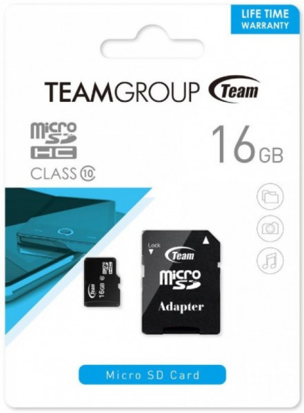 TeamGroup micro SDHC + SD adapter TUSDH16GCL1003, CLASS 10 16Gb