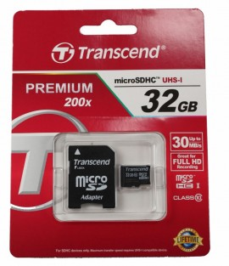 Transcend Micro SDHC class 10 premium 200x 30mBs + SD adapter 32 Gb