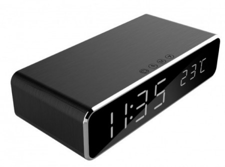 Stoni sat budilnik Gembird DAC-WPC-01 Digitalni sat + alarm sa bežičnim punjenjem telefona, crni