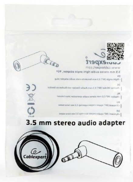 Audio adapter RJA 3,5mm muški na RJA 3,5mm ženski ugao 90 stepeni Gembird A-3.5M-3.5FL