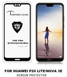 """Zaštitno, kaljeno staklo 5D Full Glue za Huawei P20 Lite, Nova 3E Huawei P20 Lite 2018 (5.84"""") crni rub"""