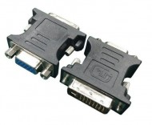 Adapter DVI-I Dual Link (24+5 pin) muški na VGA 15 pin ženski Gembird A-DVI-VGA, crni ili beli