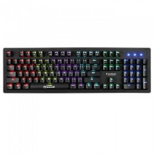 Gejmerska tastatura USB KG909 mehanička, sa plavim mehaničkim prekidačima, RGB pozadinsko osvetljenje crna