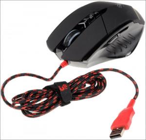 Gejmerski optički miš, A4Tech A4-V7M, Multi-Core Bloody Gun3, 1000Hz/200-3200 Dpi, Black, USB, 122mm