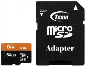 TeamGroup micro SDXC UHS-I + SD adapter TUSDX64GUHS03, CLASS 10 64Gb