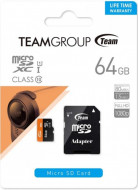 TeamGroup micro SDXC UHS-I + SD adapter TUSDX64GUHS03, CLASS 10 64Gb