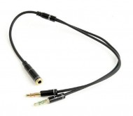 Audio Y Splitter Headphone Mic Cable Female to 2x3.5mm Male adapter Gembird CCA-418M 3.5mm
