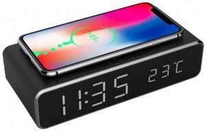 Stoni sat budilnik Gembird DAC-WPC-01, bežični punjač telefona, crni ili srebrni