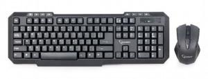 Bežična tastatura plus bežični miš GEMBIRD KBS-WM-02 (Crna) USB nano prijemnik, Membranski tasteri, EN (US), Alkalna baterija