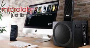 Zvučnici aktivni drveni 2.1 Microlab M-300BT, 38W RMS(14W,2x12W) SD, USB, FM, BLUETOOTH, black, 3.5mm