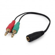 Audio Y Splitter Headphone Mic Cable Female to 2x3.5mm Male adapter Gembird CCA-418 3.5mm