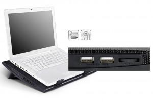 Kuler, Hladnjak, Postolje za hladjenje laptopa DeepCool WINDPALFS, 15,6 - 17 inča, dva ventilatora