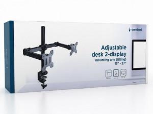 """Podesivi dupli stoni držač za monitor, Gembird MA-DF2-01 , tilt, 13-27"""", max.7kg,"""