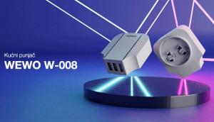 Putni punjač sa 3 x USB izlaza, 3.4A, adapteri za EU, UK, USA strujne utičnice, WEWO W-008