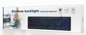 Žična USB tastatura Gembird KB-UML-02, pozadinsko RGB osvetlenje, US raspored, crna