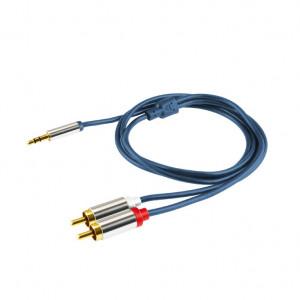 Audio kabl 3,5mm muški na 2 x RCA  A49-1M - dužina 1 m