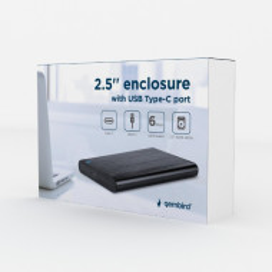 "Eksterno kuciste za 2.5"" SATA hard diskove, USB 3.1 Type-C, bruseni aluminium, Gembird EE2-U3S-6, crna boja"