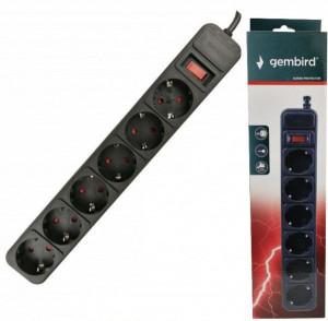 Produžni kabl sa zaštitom 6 uticnica (3x1.5mm) 4.5m black GEMBIRD SPG6-B-15 (3G1.5) **