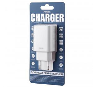 Punjač za mobilni USB plus USB Type C QC 3.0 18W, Remax RP-U37