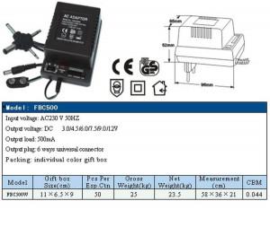Univerzalni adapter 3 4,5 6 7,5 9 i 12V promenljiv polaritet, 500mA, FBC 500