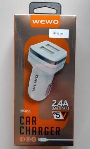 VIP WEWO W-006 AUTO punjač 2 X USB 2,4A plus micro USB kabl za punjenje