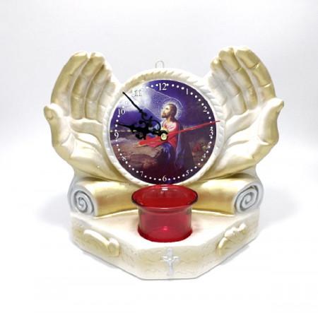 Candela ceramica maini cu icoana Iisus si ceas