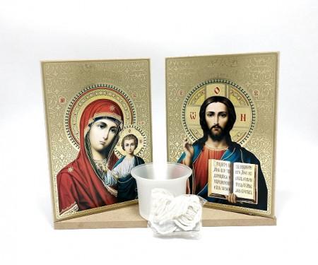 Candela  cu Icoane set Maica Domnului ci Iisus