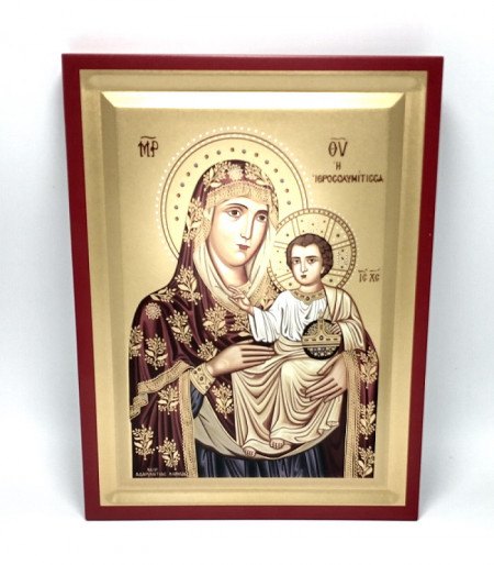Icoana Maica Domnului Ierusalnita pictata pe lemn brut