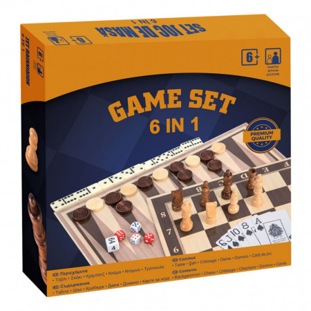 Joc Set 6 in 1 sah, dame, table, cribbage,domino, carti