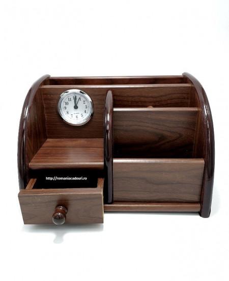 Suport de birou cu sertar si ceas realizat din lemn